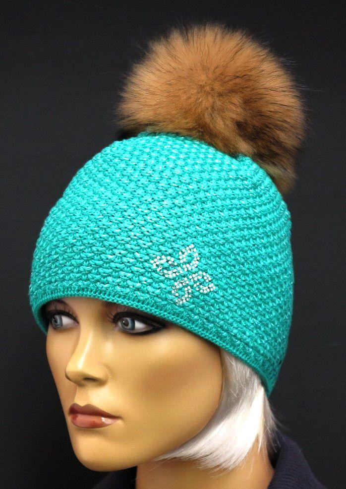 Tyrkysová / azurově modrá dámská zimní čepice od české značky R Jet For You zdobená naší kožešinovou bambulí Špongr. Každá čepice od nás je originál.