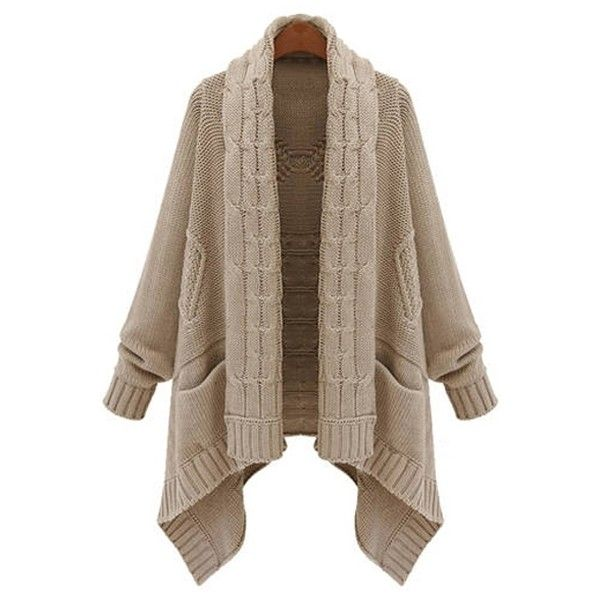 Open Front Cable Knit Irregular Cardigan ($17) ❤ liked on Polyvore featuring tops, cardigans, cable knit cardigan, brown tops, chunky cable knit cardigan, brown cable knit cardigan and brown cardigan