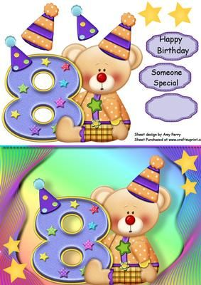 """Happy 8th Birthday Bear on Craftsuprint designed by Amy Perry - Happy 8th Birthday Bear In lovely multi-coloured with corner gold stars, also has decoupage and choice of tag """"Happy Birthday"""" """"Someone Special"""" and a blank tag for your own sentiment."""