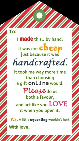 Why I don't knit Christmas gifts. When I do knit gifts, and a free cheeky gift tag PDF to print from KnitLove.com