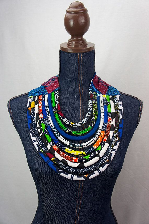 African Bib Necklace Maasai Necklace Ankara by ETurnerCouture                                                                                                                                                                                 Mais