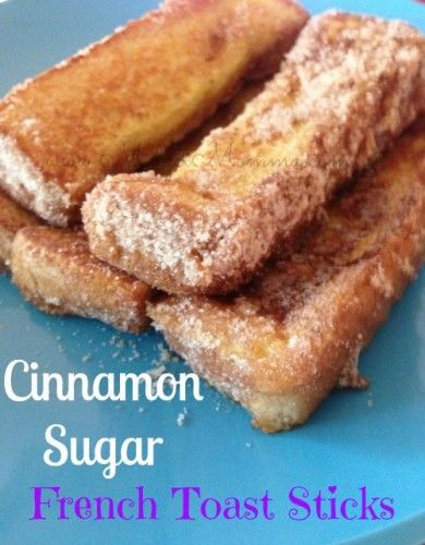Cinnamon Sugar French Toast Sticks! Soooo easy to make, and they taste so much better then the frozen in a box kind! This is an easy breakfast idea that your whole family will love!