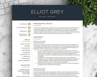 Modern Resume Template | Professional Resume Template for Word and Pages | 1, 2 and 3 Page Resume Template, Cover Letter | Instant Download