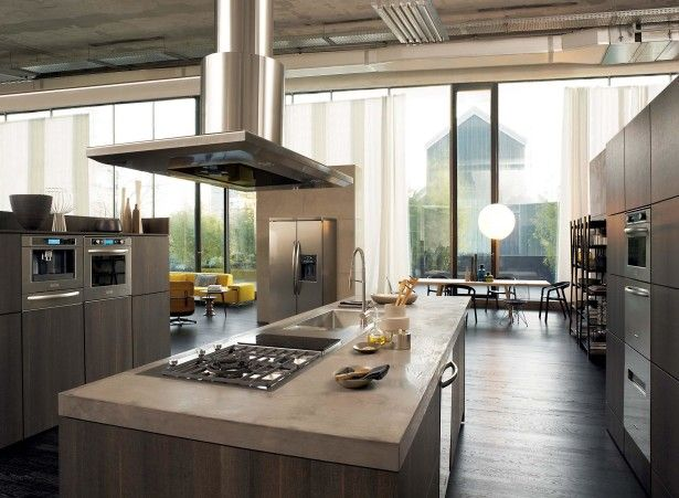 Kitchen, Large Kitchen Design With Glass Wall Design Ideas With Wooden Flooring Design And Long Kitchen Island Design With Beige Kitchen Appliance Packages Set And Stainless Steel Kitchen Sink Design With Stove: Surprising Kitchen Appliance Package Design Ideas