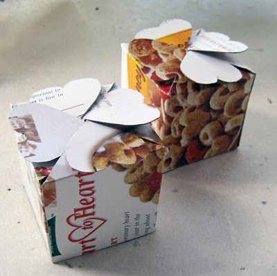 Ideas for empty cereal boxes: Fold them into smaller boxes and use for gift-giving or storage. This post links to three box-folding tutorials, including one that'll make hexagon-shaped boxes.