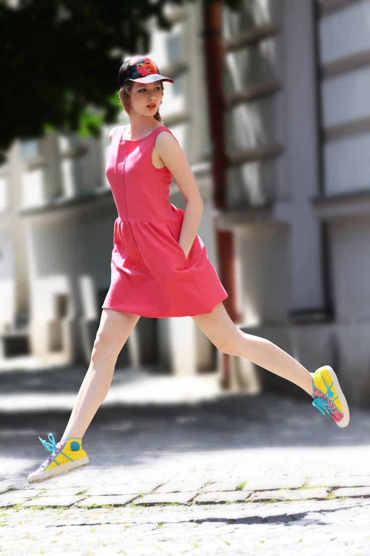 teplákové šaty růžové