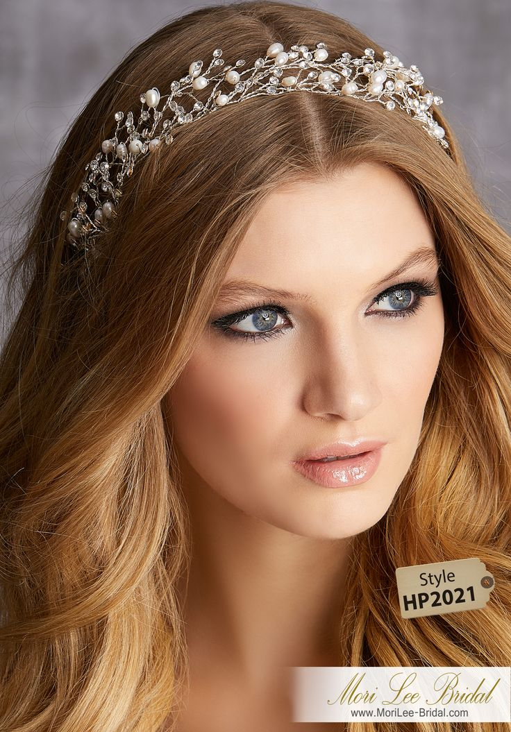 STYLE HP2021Freshwater Pearl and Rhinestone Hair Vine with Organza Tie ClosureAvailable in Silver