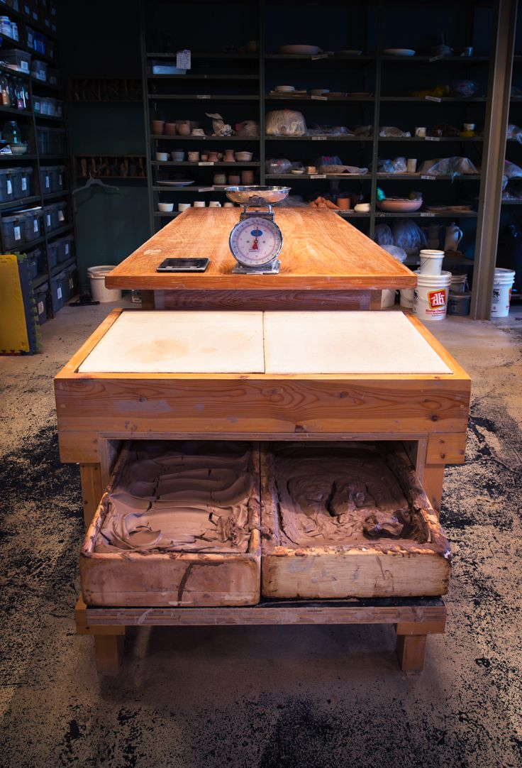 Wedging table with clay recycling Drawer
