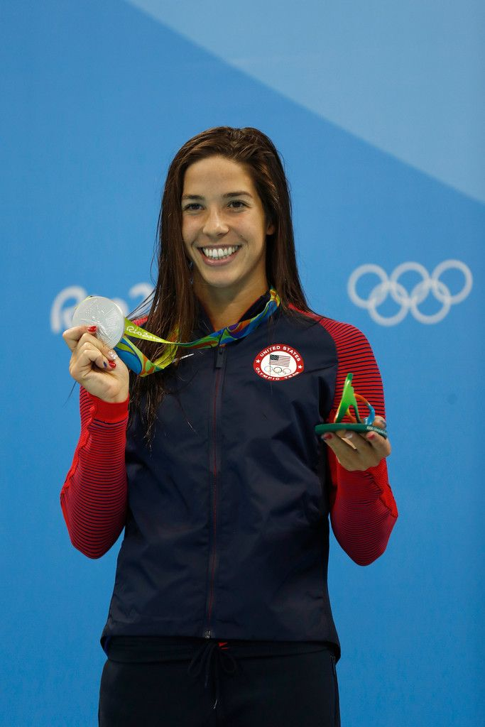 Silver medalist Maya Dirado of the United States poses during the medal ceremony for the Final of the Women's 400m Individual Medley on Day 1 of the Rio 2016 Olympic Games at the Olympic Aquatics Stadium on August 6, 2016 in Rio de Janeiro, Brazil.
