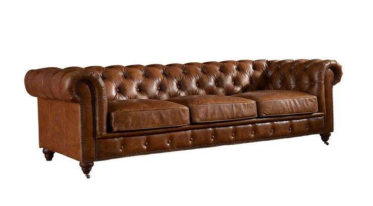 Leather Chesterfield Sofa - Light Brown Leather