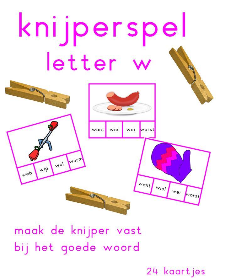 Knijperspel met de letter w - Digibord Onderbouw