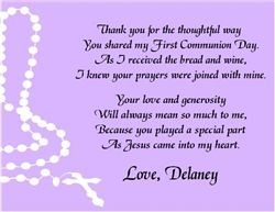 Baptism First Communion Confirmation Thank You Card Rosary