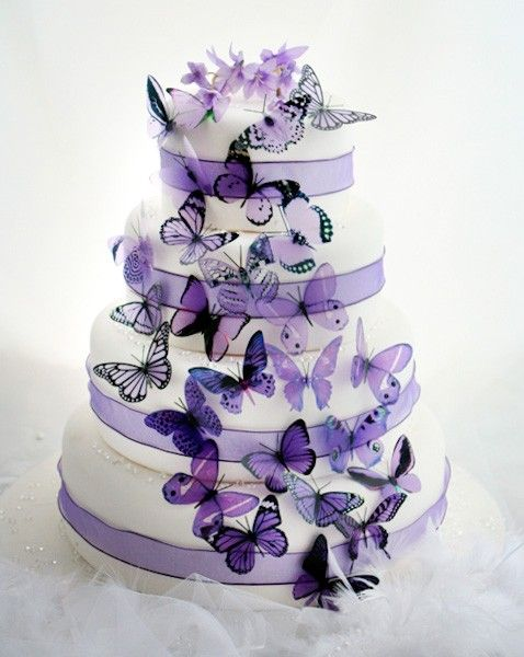 50 Mauve and Purple Mixed Butterflies great for Cake Toppers,  table decorationsand invitations. $44.00, via Etsy.
