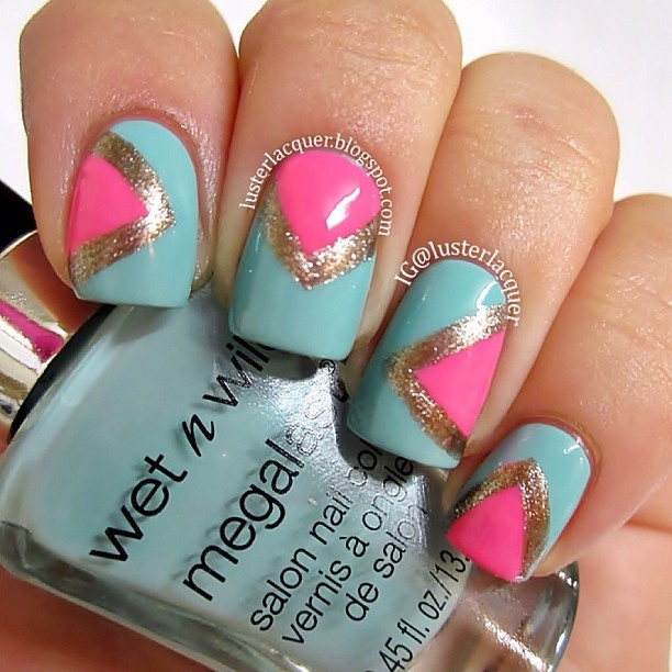 "Mint with hot pink chevron nail art design - Wet N Wild ""I Need a Refresh-Mint"", Sinful Colors ""24/7"" and Sally Hansen ""Coin Flip"""