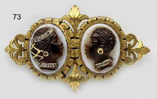 Victorian Stone Cameo Of A Male And Female Blackamoor, Rose-Cut Diamond And Gold Brooch - French.