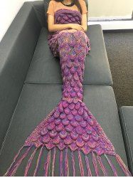Cute Sea Wave Pattern Mermaid Shape Knitted Kid's Blanket (COLORMIX) | Sammydress.com Mobile