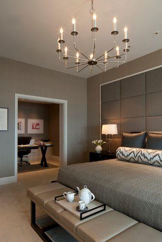 Modern Chic Master Bedroom with a home office with it's own room inside the master suite. Love the light to dark grays used in the design. #manchesterwarehouse
