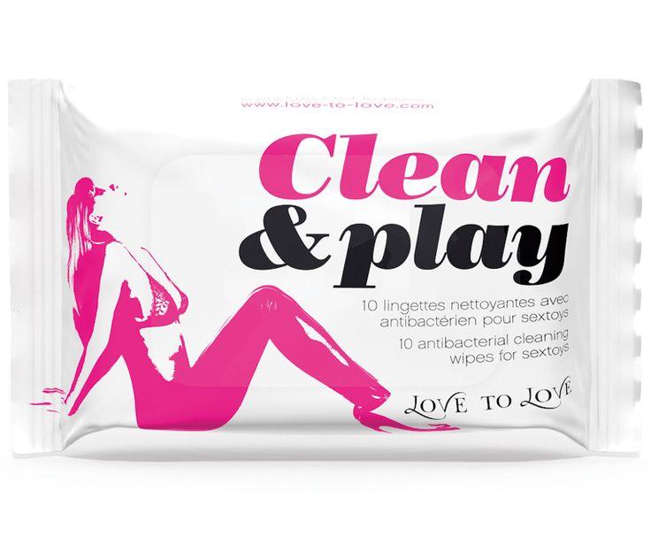 Lingettes nettoyantes Clean and Play X 10 - Nettoyage entretien - my-sexshop.fr