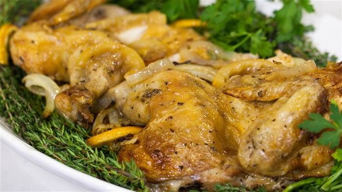 Ina Garten's Skillet-Roasted Lemon Chicken is easy and impressive; Saw her make this on the Today show, and decided to make it - soooo gooood!!
