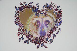 Owlbert, gouache & hand coloured Linocut