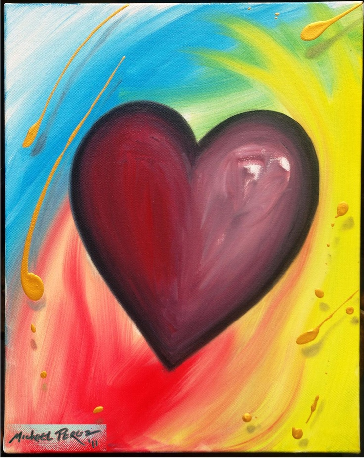 Blue Skies Pop Heart for Food for the Poor ©2011 Pop Artist Michael Perez   Gallery 212 Miami