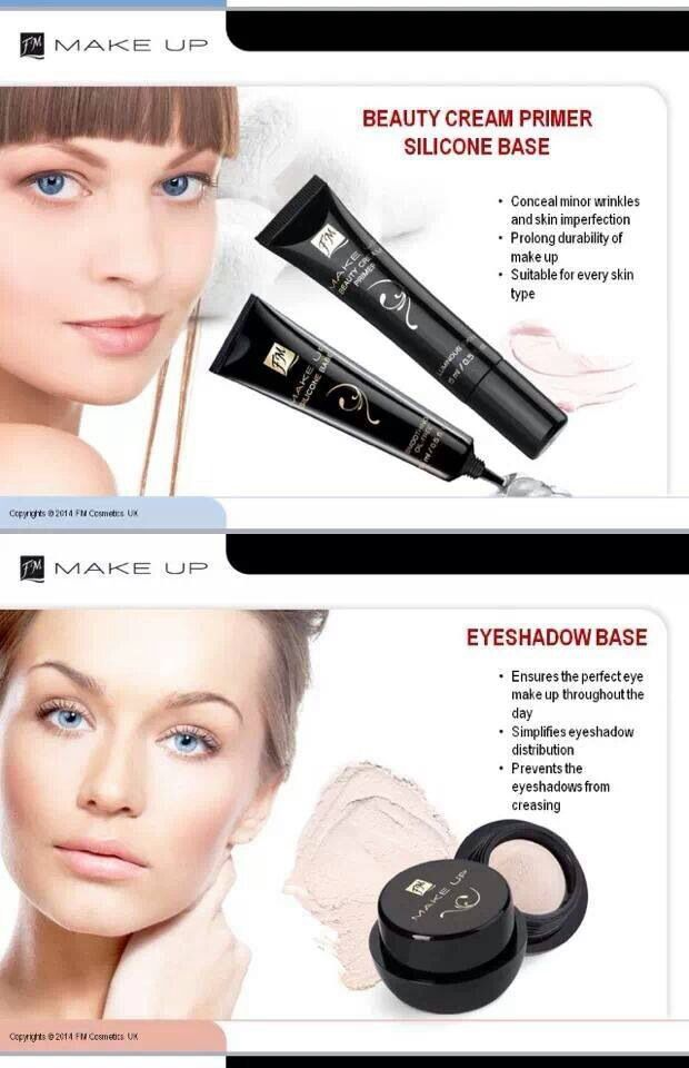 FM make up Silicone base: £9.99  Mattifies and ensures fresh look for a long time. Makes the skin become perfectly smooth,whereas pores and fine wrinkles are less noticeable.  Beauty Cream Primer £6.99 extends the like of makeup. the product enlivens the skin and removes and sign of tiredness.