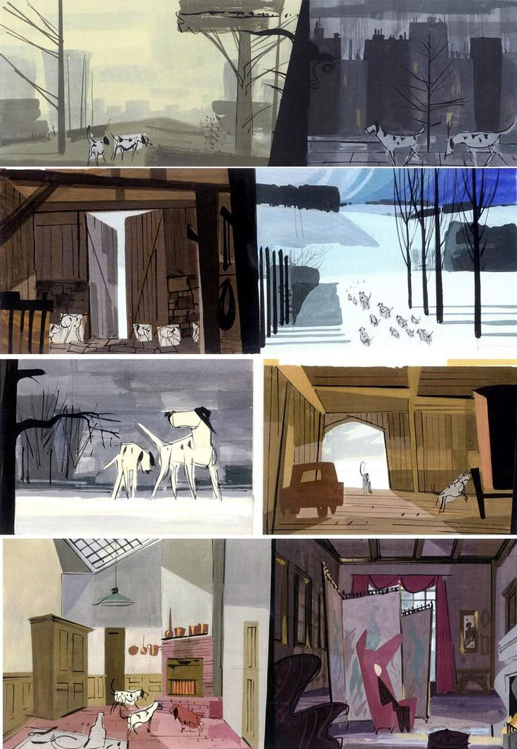 """Color keys from """"One Hundred and One Dalmatians"""" (1961).  By Walt Peregoy, '101 Dalmatians' Color Stylist"""