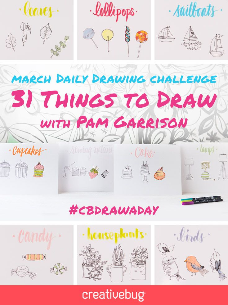 Jumpstart your creative practice with a 31-day drawing challenge, taught by artist and professional doodler Pam Garrison. In this draw-along, Pam shares her playful, encouraging style, providing prompts and colorful demonstrations every single day for a month. Not only will you learn how to draw ordinary objects and add splashes of color, but you'll also learn how to strengthen your creative muscles and develop a new habit.