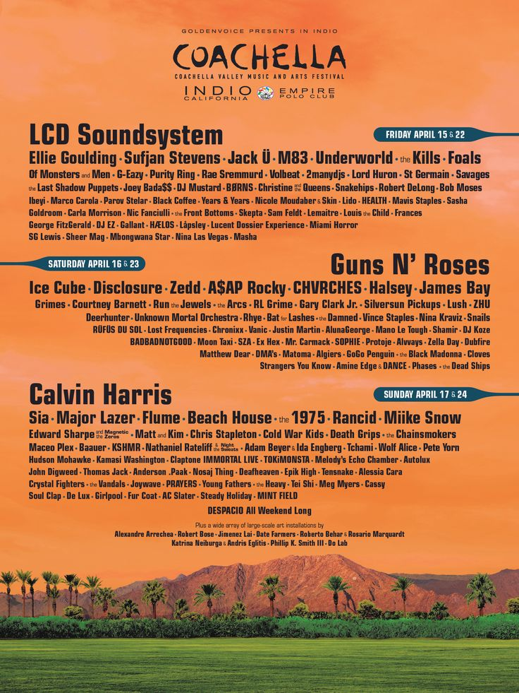 The Coachella Valley Music and Arts Annual Festival -  Event and visitor information, passes, photo gallery, FAQ, rules, and directions.