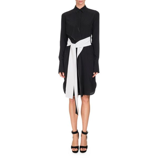 Givenchy Bicolor Belted Silk Shirtdress featuring polyvore, women's fashion, clothing, dresses, slim fit dress, long sleeve silk dress, longsleeve dress, belted shirt dress and slimming dresses