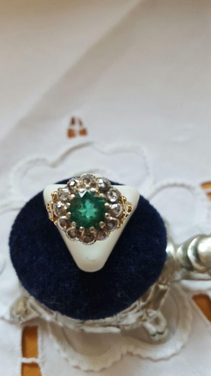 старинное кольцо, желтое золото, зеленый турмалин, бриллианты
