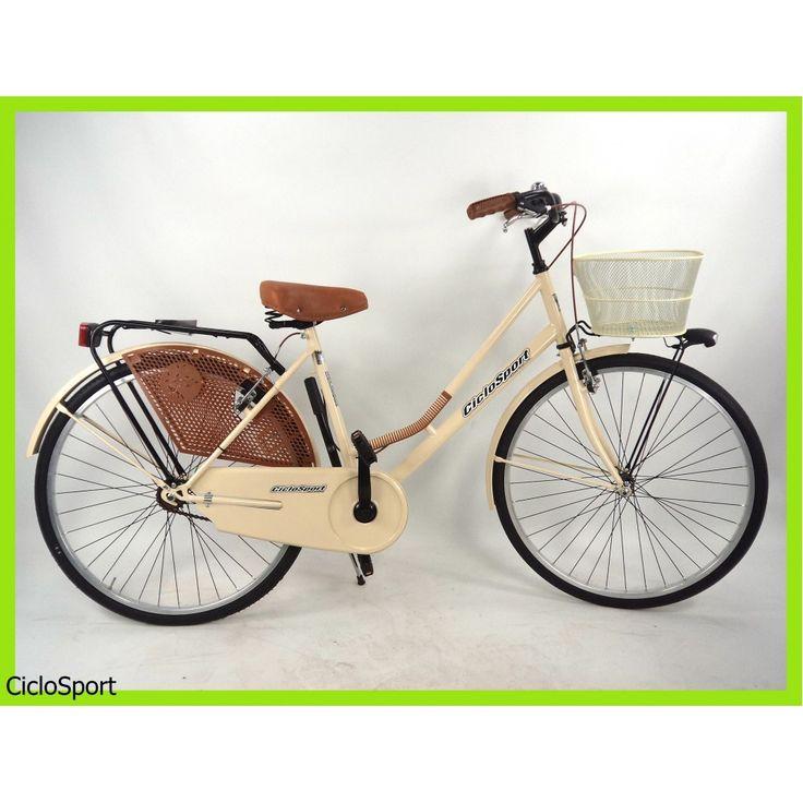 """Bicicletta donna Olanda Plus 26"""" CicloSport completa di accessori - Panna"""