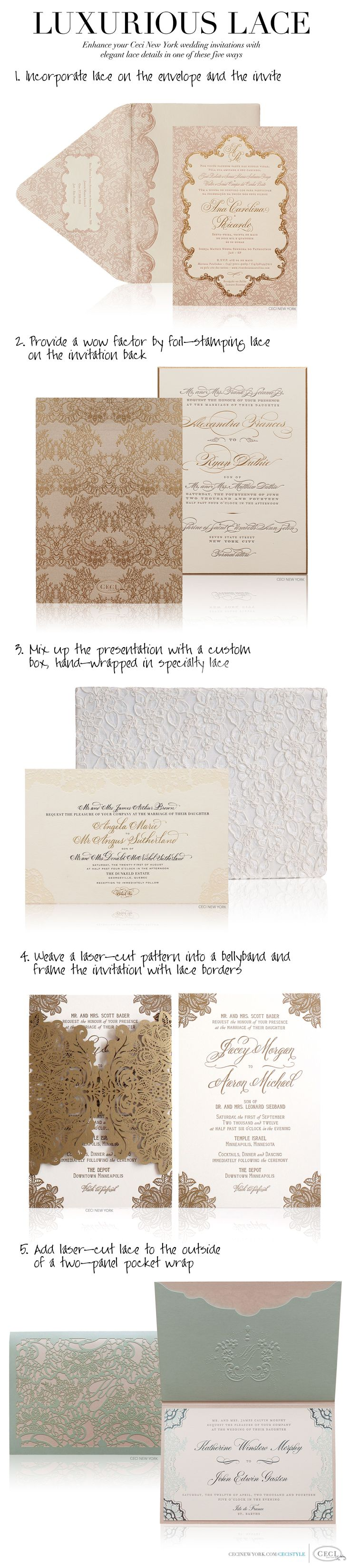 35 best invitation cards images on pinterest invitation cards luxurious lace enhance your ceci new york wedding invitations with elegant lace details in one stopboris Choice Image