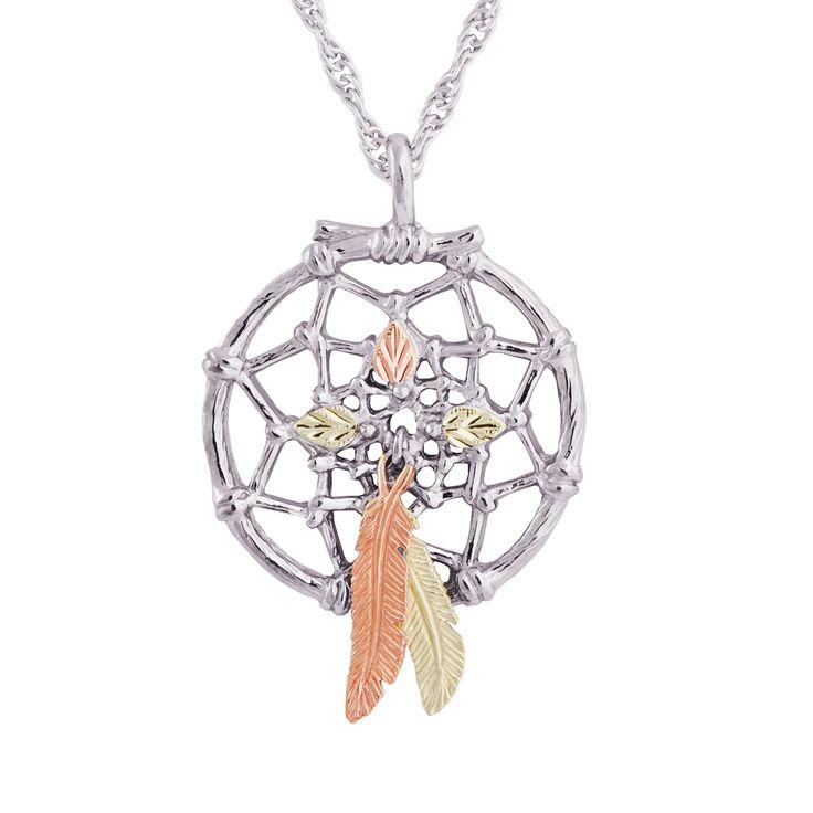 Black Hills Gold on Silver Dreamcatcher Pendant (Dreamcatcher), Women's, Size: 18 Inch, Tri-Color