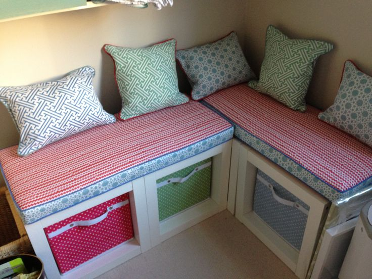 bench seat made from ikea expedit box cubes baby love pinterest bench seat ikea expedit. Black Bedroom Furniture Sets. Home Design Ideas