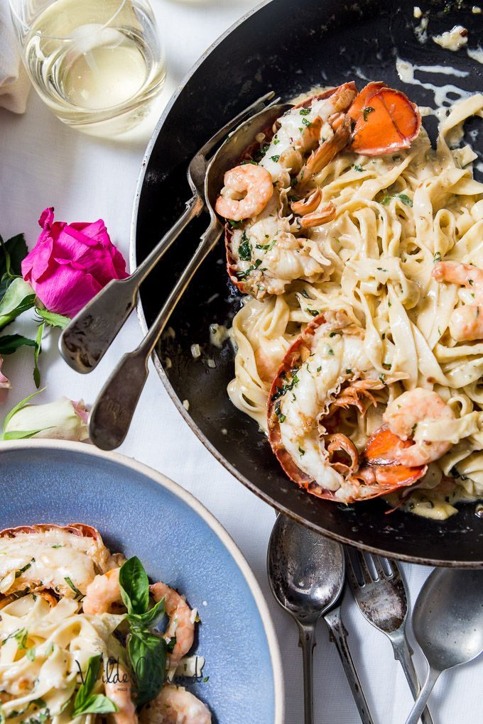 Creamy Lobster and prawn pasta drenched with champagne and fresh herbs. The Valentine's dinner of your dreams. Fresh pasta and all the steps to make nice.