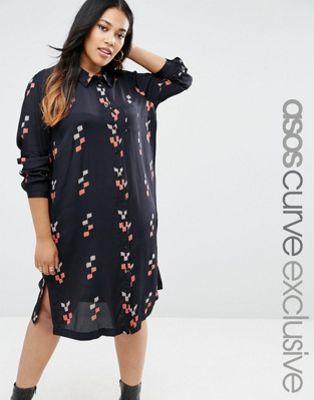 ASOS CURVE Shirt Dress in Block Print