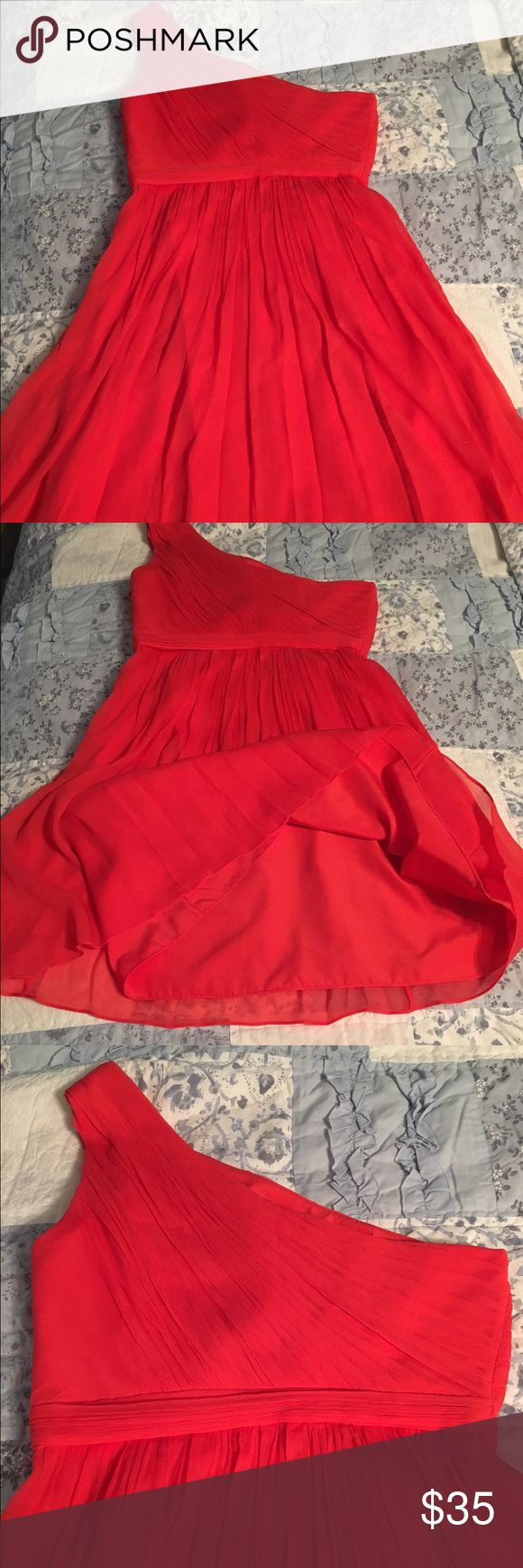 J crew 100% silk one strap dress size PS J crew 100% silk one strap dress size PS. I bought from Poshmark but it's too small for me. Excellent used condition. Size petite small. This beauty is red with a hint of orange. Would make a great bridesmaid or holiday party dress. 100% silk. Dresses Wedding