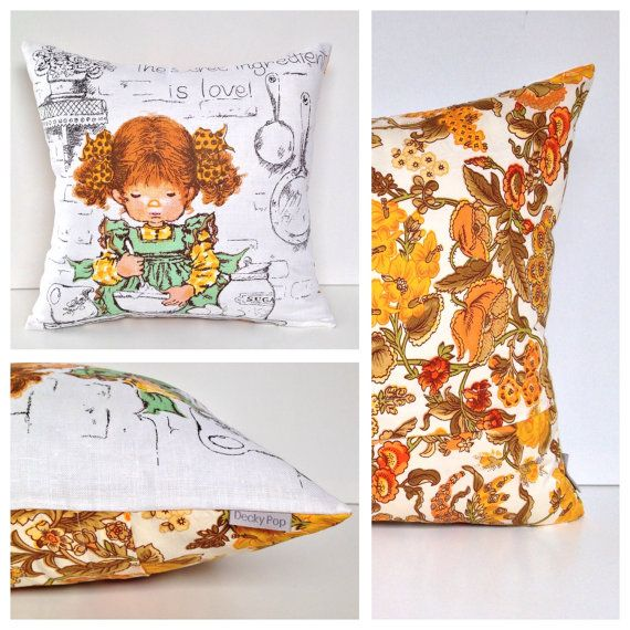 SALE Girl Cushion cover Kids Vintage Retro Bedroom