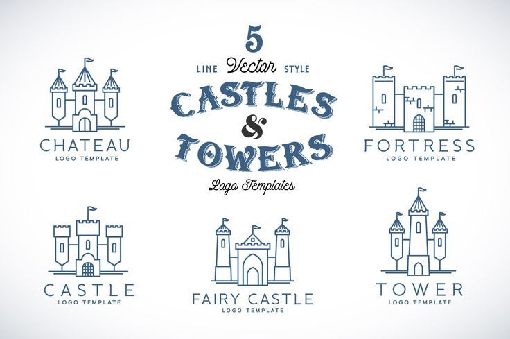 Line Style Vector Castle Logos by createvil on Creative Market