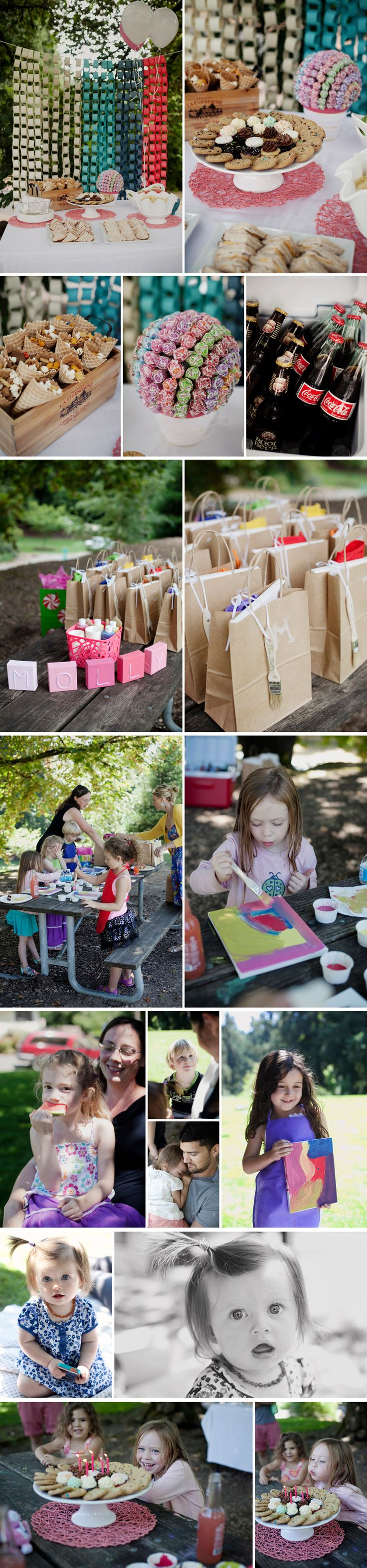 Giant Bubbles and Painting at the Park -- a 5 year old's Birthday Party. http://saramayphotography.com/big-bubbles-painting-at-the-park-mollys-5th-birthday/  ombre decor, ombre backdrop, ombre paper rings, kid birthday, park birthday party, painting party, giant bubbles