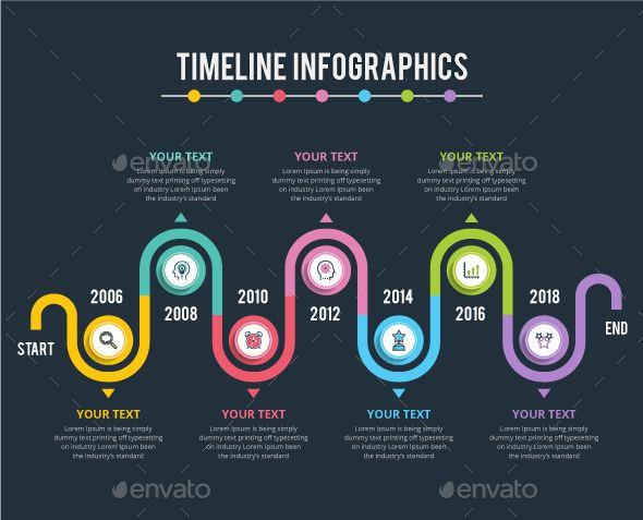 Modern Timeline Infographic Template Vector EPS, AI Illustrator