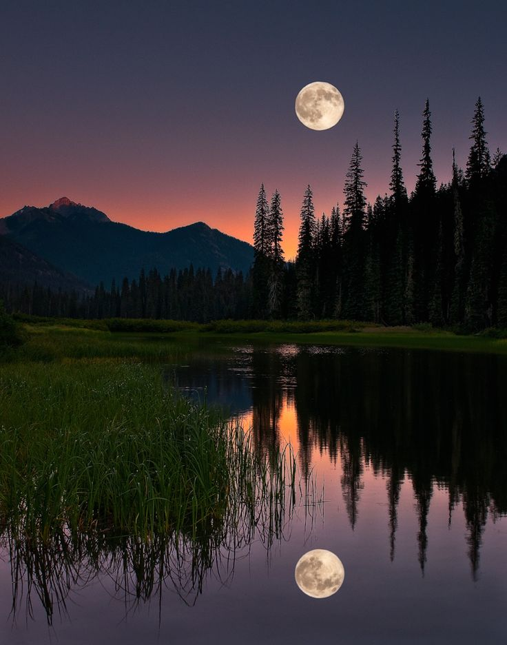 Full Moon Over The Mountain Stream