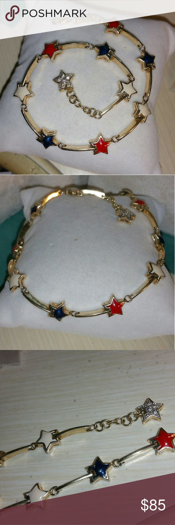 """18k yellow gold over sterling silver ankle anklet Sterling silver with 18k yellow gold vermeil. . has red white and blue stars-USA flag colors, 4th of july.. it will fit up to a 10"""" ankle-look at pic.. look at pic for weight.... stamped 925 on the clasp.... it was from Ross Simons years ago Ross-Simons Jewelry Bracelets"""