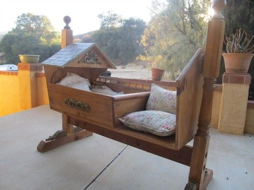Amazing Hand Made Wood Fairy Tale Cradle Rocker Bassinet