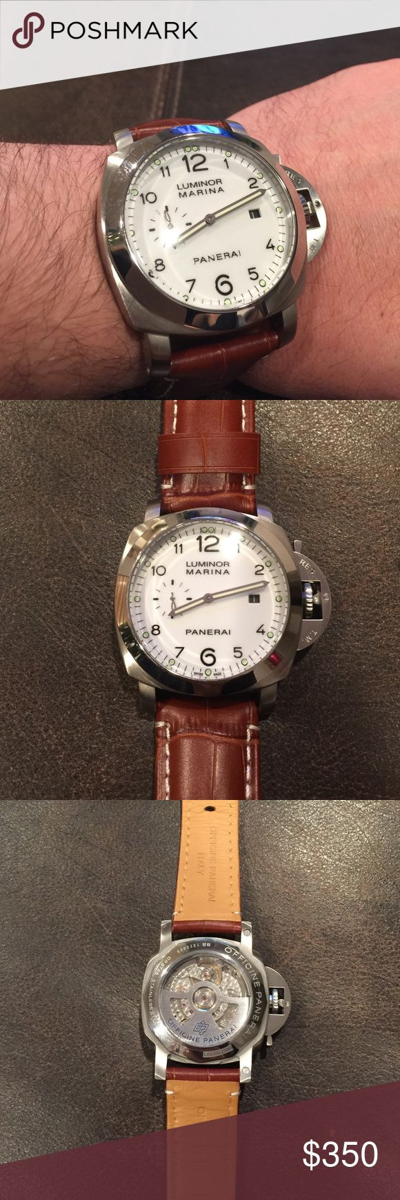Luminor Marina 1950 Panerai White dial, 44mm, brown leather strap, automatic Panerai replica. Almost brand new- only worn twice and in perfect condition. No trades. Panerai Accessories Watches