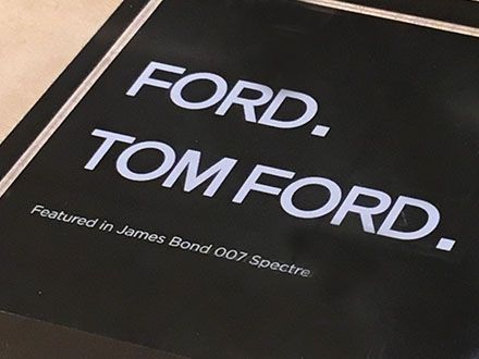 """Tom Ford® heavily brands this Museum Case Display, offering only a footnote to """"Featured in James Bond 007 Spectre."""" I might have offered equal billing for even better Tom Ford® Sales. The sunglass…"""