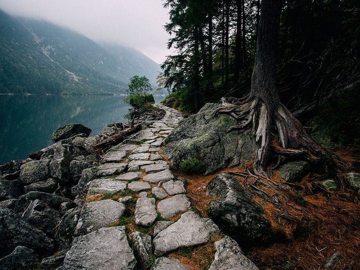 The old stone path around the lake  Morskie Oko, in Poland