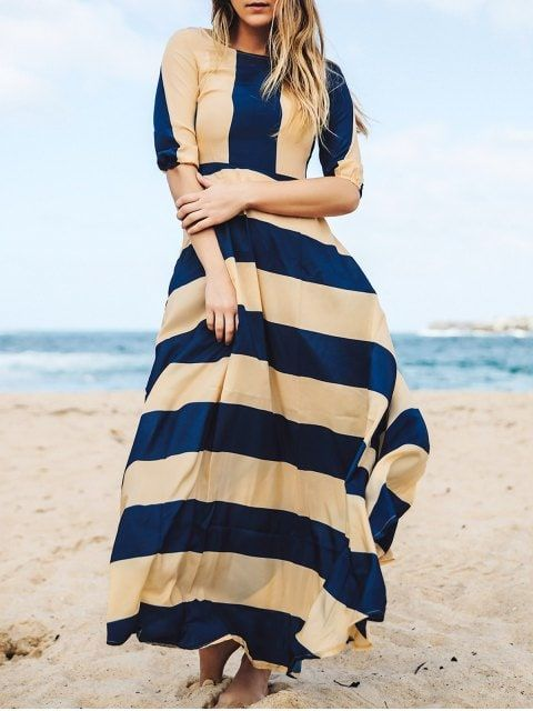 Shop for Striped Scoop Neck 3/4 Sleeves Maxi Dress DEEP BLUE: Maxi Dresses S at ZAFUL. Only $29.49 and free shipping!