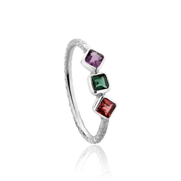 The Shine On ring, sterling silver amethyst green quartz and garnet. Ideal stacker $130